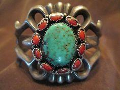 Vintage Navajo sterling turquoise coral bracelet, 59 grams,Small adult wrist