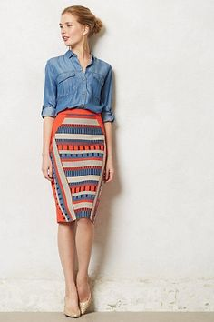 Merida Pencil Skirt #anthropologie- like the idea of pencil skirt with chambray shirt, but no horizontal stripes