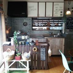 カフェ風/キッチンカウンター/かご/観葉植物/ステッカー/salut!…などのインテリア実例 - 2016-03-13 12:39:34 | RoomClip(ルームクリップ)