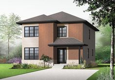 Contemporary Modern Elevation of Plan 76316