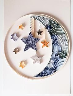 Moon and Stars Quilled Nursery Wall Art New Baby Gift image 0 Paper Quilling Cards, Paper Quilling Patterns, Paper Quilling Jewelry, Origami And Quilling, Quilled Paper Art, Quilling Paper Craft, Quilling Comb, Neli Quilling, Quilling Ideas