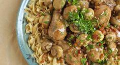 Κοτόπουλο με μανιτάρια και χυλοπίτες