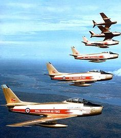 """Golden Hawks - The Golden Hawks were a Royal Canadian Air Force (RCAF) aerobatic flying team established in 1959 to celebrate the 35th anniversary of the RCAF and the """"Golden"""" 50th anniversary of Canadian flight, which began with the AEA Silver Dart in 1909."""