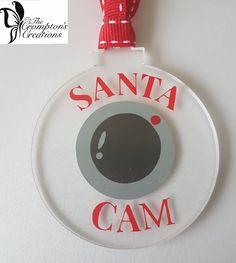 Childrens Christmas Santa Spy Cam, Vinyl on clear Acrylic Flat Bauble