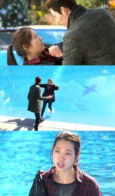 Young do pushes Eun Sang in. Kim Woo Bin, Park Shin Hye, Many Faces, The Heirs, Korean Dramas, Swimming Pools, Singing, Asian, In This Moment