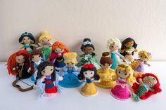 Disney Princess Crochet Amigurumi Dolls. Snow White. Cinderella. Aurora Sleeping Beauty. Belle. Ariel the Little Mermaid. Jasmine. Mulan. Pocahontas. Rapunzel. Tiana. Merida. Tinker Bell. Elsa and Anna. Patterns by Sahrit.