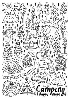 Hand drawn maps print for camping and Royalty Free Vector , Owl Vector, Fish Vector, Vector Free, Funny Maps, Camping Drawing, Mermaid Vector, Good Luck Symbols, Hand Drawn Cards, Pixel Pattern
