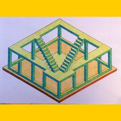 #regolo54 #impossible #isometric #penrosetriangle #oscarreutersvärd #mauritiuscorneliusescher #triangle #hexagon #handmade #mathart #geometry #symmetry #pattern #Escher #oscarreutersvärd