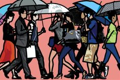 줄리안 오피 Julian Opie Feb 13 - Mar 23, 2014 @ Kukje Gallery | Walking in Sadang-dong in the rain. 2014 Vinyl on wooden stretcher 230 x 344.3 cm <사진제공 : 국제갤러리>