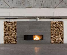 Fireplace with Firewood Organizer   Interior Design Ideas, Modern Furniture Design - zaINTERIORA.net