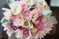 pink lisianthus, french tulips, rananculus, brunia balls, dusty miller, dahlias wedding flower bouquet, bridal bouquet, wedding flowers, add pic source on comment and we will update it. www.myfloweraffair.com can create this beautiful wedding flower look.