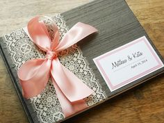 Gray and Light Pink Wedding Guestbook You Choose Bow Color and Page Layout (made to order) on Etsy, $42.00