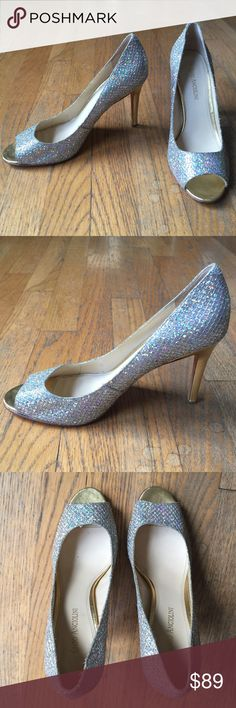 "👠ENZO ANGIOLINI Glitter Peep-toe Heels 👠ENZO ANGIOLINI Glitter Peep-toe Heels.  My friend received these as a engagement gift for her wedding.  Worn once.   Glitter upper. Leather sole. Gold heels, 4"".  Great used condition.  Minimal wear. Enzo Angiolini Shoes Heels"
