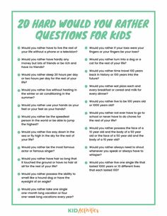 A collection of 301 would you rather questions appropriate for kids of all ages. Enjoy these weird, gross, funny, and hard would you rather questions. Hard Would You Rather, Would You Rather Questions, Therapy Activities, Activities For Kids, Sleepover Activities, Sleepover Party, Educational Activities, Icebreakers For Kids, Educational Websites