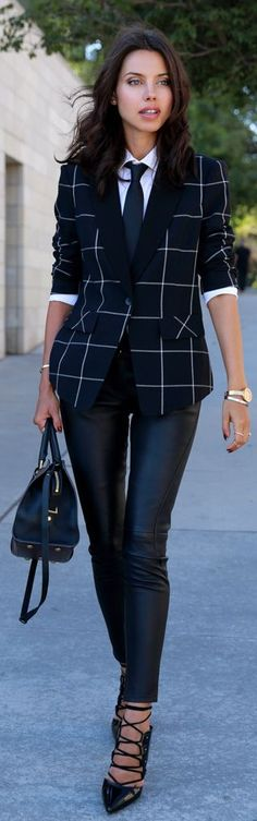 Black And White Windowpane Blazer by Vivaluxury