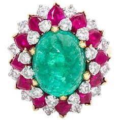 Bulgari Dolce Vita Emerald Ruby Diamond Ring ($47,495) ❤ liked on Polyvore featuring jewelry, rings, cabochon ruby ring, diamond jewellery, 18k ring, ruby diamond ring and ruby jewelry