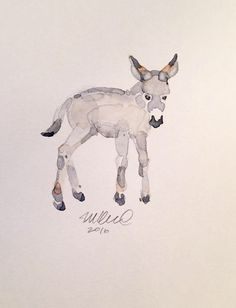 Contemporary Donkey Watercolor Painting on Chairish.com