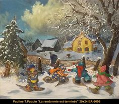 Paulin Paquin original oil painting on canevas #paulinepaquin #art #artist #canadianartist #quebecartist #children #winter #originalpainting #oil #balcondart #multiartltee