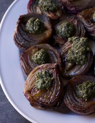 Roasted Young Onions with Sage Pesto