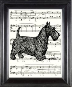 Cyber Monday Scottish Terrier Print - Vintage Sheet Music Print  - Upcycled  Repursposed Sheet Music - BUY 2 GET 1 FREE. $6.00, via Etsy.