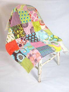 Modern Patchwork Baby Blanket with Sugar Pop by RainyDayQuiltCo, $45.00