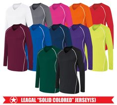 High 5 Solid LS Jersey - 90% polyester/10% spandex. Inserts: Lightweight pinhole mesh 92% polyester/8% spandex.  Available in youth sizes.  All colors legal solid compliant.  Call 952-808-0100 for more details. Printing available.