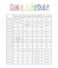 Kids Schedule Template. weekly schedule template. pretty printable ...