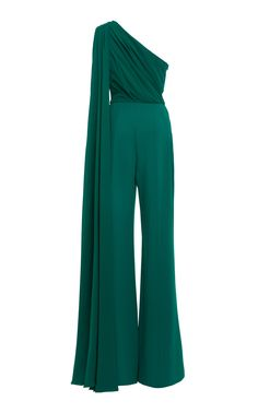 Shop One-Shoulder Georgette Jumpsuit. Elie Saab designs romantic pieces for the modern woman— such as this cascading one-shoulder jumpsuit. Elegant Outfit, Elegant Dresses, Hijab Fashion, Fashion Dresses, Formal Jumpsuit, Looks Chic, Ladies Dress Design, Ball Gowns, Evening Dresses