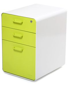 Poppin White + Lime Green West 18th File Cabinet from Poppin   BHG.com Shop