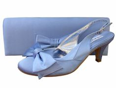 Twee Periwinkle Blue Satin Slingback Shoes. #PaleBlueWeddingShoes