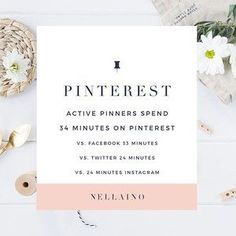PINTEREST FACT FRIDAY  Have you ever been browsing on Pinterest and realized that the time has gone by so quickly? Yes, I bet you had! *** Active Pinterest users spend approximately 34 minutes per a visit on Pinterest. It's a bit more than the time they spend on Facebook (33 minutes), and 10 minutes more than their average visits on Twitter and Instagram (24 minutes). Source: @ahalogy *** I know that it's so easy to spend even hours on Pinterest when you're looking for inspiration a