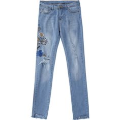 Ripped Floral Embroidered Sequins Jeans Denim Blue ($27) ❤ liked on Polyvore featuring jeans, destroyed jeans, distressed jeans, sequin ripped jeans, destroyed denim jeans and blue denim jeans