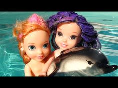 Anna and Elsa Dolphin swim in pool with toddler dolls Mal and Evie P1 | ...