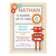 Modern + Fun Robot invite, matching party items available at seasidepapercompany@gmail.com Graphics by Goodness & Fun at MyGrafico http://www.mygrafico.com/index.php?_a=viewAff&affId=101http://www.mygrafico.com/index.php?_a=viewAff&affId=67 #orange #teal #robot #gears #party #invitation #invite #invitations #birthday #boy #theme #mod #modern #unique #different