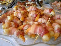 Bacon wrapped scallops and bacon wrapped shrimp with white wine, rosemary butter reduction recipe equals bacon wrapped happiness! Gf Recipes, Home Recipes, Great Recipes, Recipies, Cooking Recipes, Bacon Wrapped Shrimp, Bacon Wrapped Scallops, Free Gf, Gluten Free