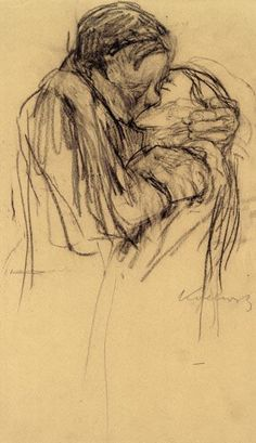 Kathe Kollwitz ~ The Kiss. Kollwitz is one of my favorite artists, but she rarely drew romantic pictures, so this is a real treasure. Life Drawing, Figure Drawing, Drawing Sketches, Painting & Drawing, Art Drawings, Drawing Artist, Kathe Kollwitz, Found Art, Art Graphique