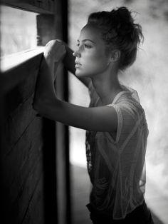 #Deep #thought #Blackandwhite #Girl #young #intense