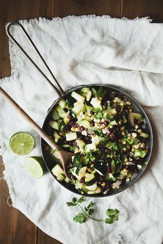 Warm Zucchini, Corn and Black Bean Salad- added cumin, cous cous, tomatoes, avocados, and serve with tortilla chips
