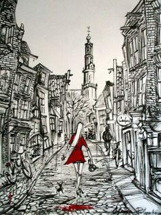Nu in de #Catawiki veilingen: Elena Polyakova - Op een straat met Westerkerk in Amsterdam