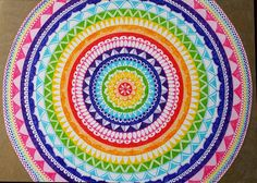 - Rainbowcolour mandala - Drawn freehand - Staedtler Triplus Fineliners