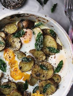// pesto potatoes and eggs