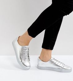 ASOS DARLEY Metallic Clean Lace Up Sneakers - Silver