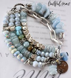 bracelet opal bracelet blue opal bracelet boho chic