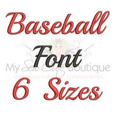 Baseball Embroidery Font Machine Embroidery Font 6 Sizes