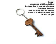 Wooden Alohomora Spell Key Shaped Keychain by MemorableLand
