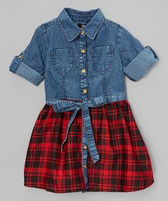Look at this Denim & Red Plaid Dress - Toddler & Girls on #zulily today!