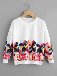 To find out about the Geo Print Zipper Side Drop Shoulder Sweatshirt at SHEIN, part of our latest Sweatshirts ready to shop online today! Girls Fashion Clothes, Teen Fashion Outfits, Trendy Outfits, Girl Fashion, Girl Outfits, Fashion Dresses, Clothes Women, Hoodie Sweatshirts, Sweatshirts Online