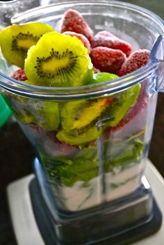 Killer Strawberry Kiwi Green Smoothie    Ingredients:  1-2 tablespoons flaxseeds  2 cups fresh organic spinach  1 cup wheatgrass   1 cup unsweetened vanilla almond milk (or other non-dairy milk)  2 cups frozen strawberries  2 whole fresh kiwis