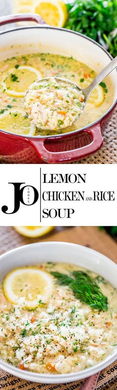 This Lemon Rice and Chicken Soup also known as Avgolemono is a classic Greek soup thickened with eggs, loaded with rice, chicken and flavored with lots of lemon. #lemonricechickensoup #soup #avgolemono via @jocooks