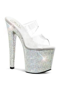 PLEASER BEJEWELED-752DM Women's 7' Heel, 3 1/2' PF Two Band Slide ** Awesome product. Click the image : Outdoor sandals